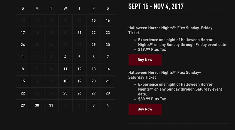 Halloween Horror Nights 2017 Dates Announced