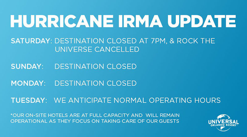 Universal Orlando Closing Sunday and Monday for Hurricane Irma