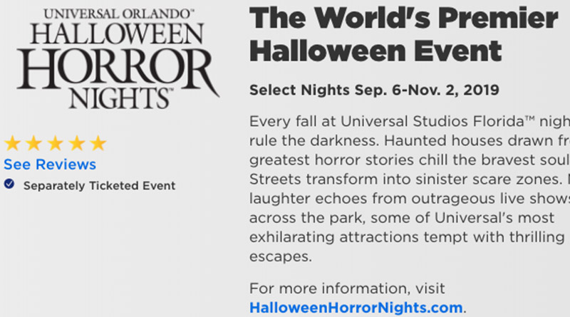 HHN 29 Dates Revealed on Universal Orlando's Website