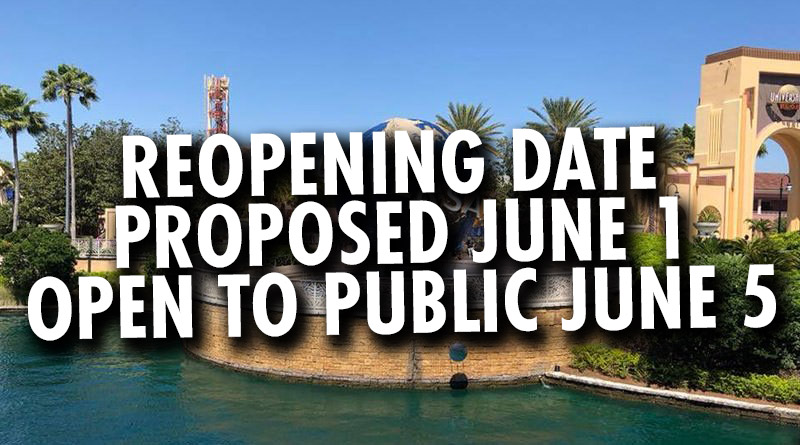 Universal Orlando Requests to Reopen on June 1; Public Opening on June 5